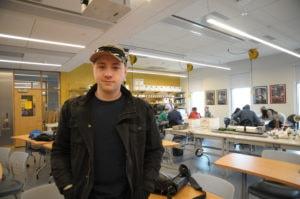 Joe LeBlanc in a classroom