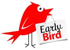 Bird with Early Bird Sign
