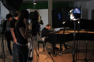 Media Arts & Technology - Video Students Recording a Piano Player