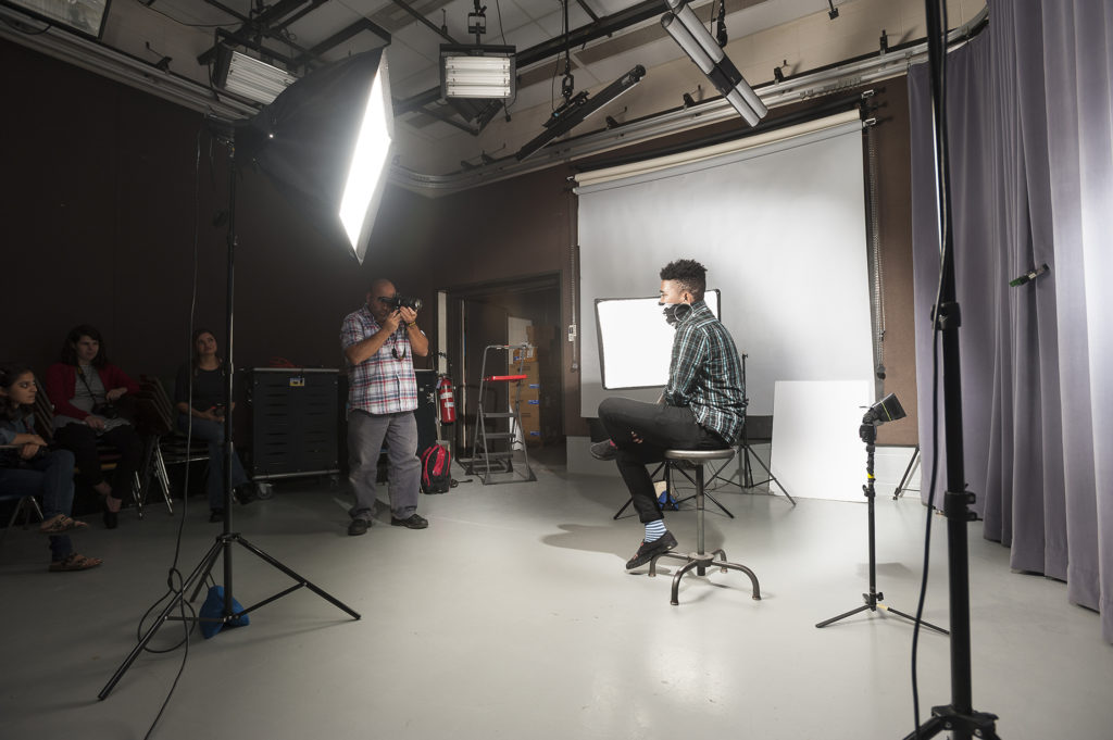 Media Arts & Technology - Photography Students Taking Photos of Subjects in the Studio