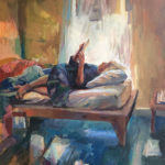 Painting of person reading on a bed