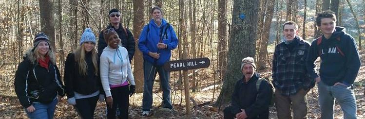 MWCC Hiking Club Students on a Trail