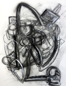 Charcoal and Gesso drawing, Untitled by Allyson Bois