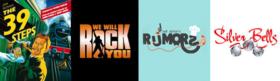 4 Show Logos: The 39 Steps, We Will Rock You, RUMORS, Silver Bells
