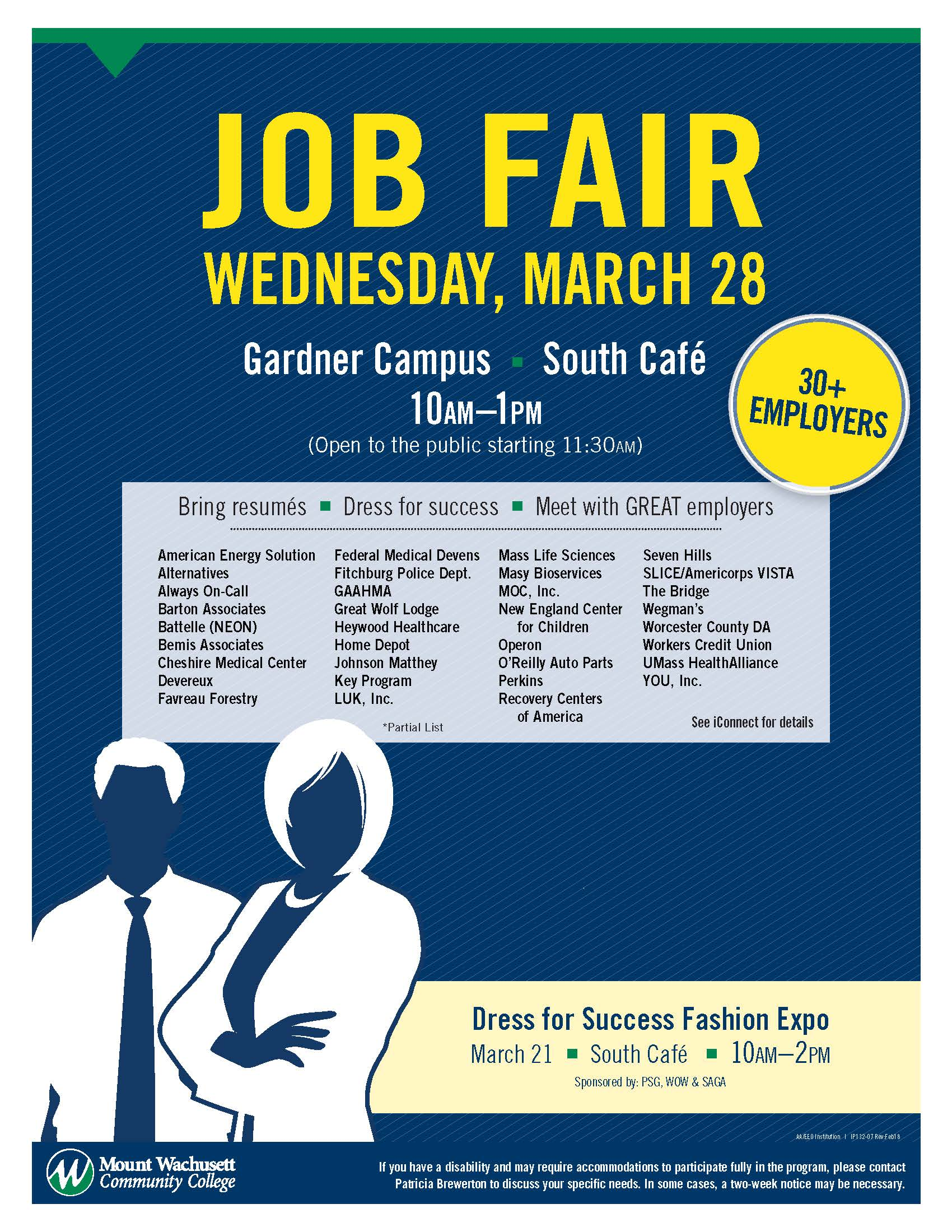 A flyer for the job fair lists the businesses that will be present.