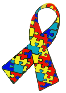 Ribbon with red, yellow, green and blue puzzle pieces to represent Autism Awareness