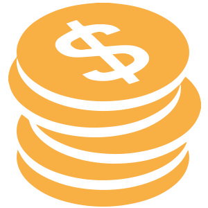 Orange Stack of Coins Icon