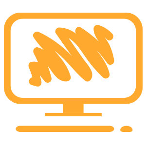 OOrange Computer with Artist Squiggle on the Screen Icon