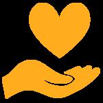 Orange Hand Holding a Heart Icon