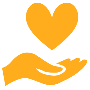 Orange hand holding a heart icon