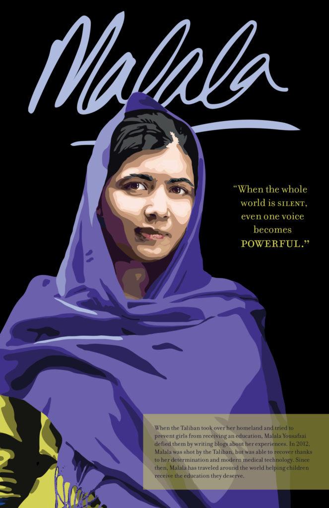Digital illustration of Malala Yousafzai