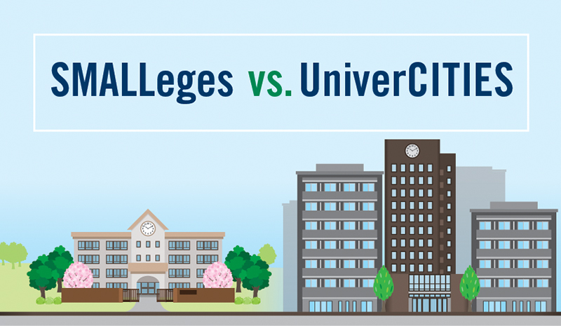 Illustration of a small building next to a city (text: SMALLeges vs. UniverCITIES)
