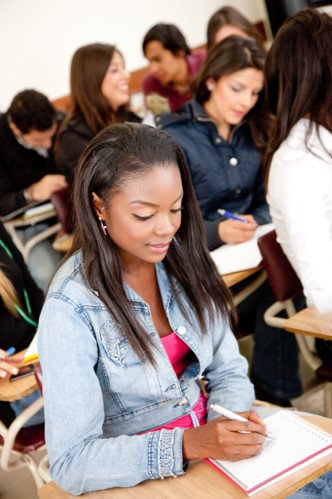 Photo of a student looking down