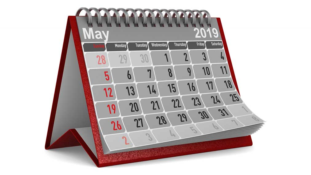 picture of a standing may 2019 calender