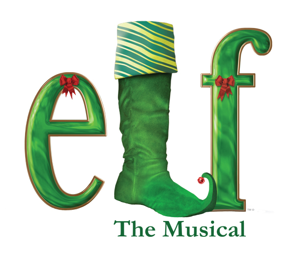 "Letters in green ""elf"" the musical logo"