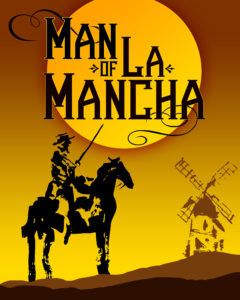 Silhouette of man on horse against the setting sun with words Man of La Mancha