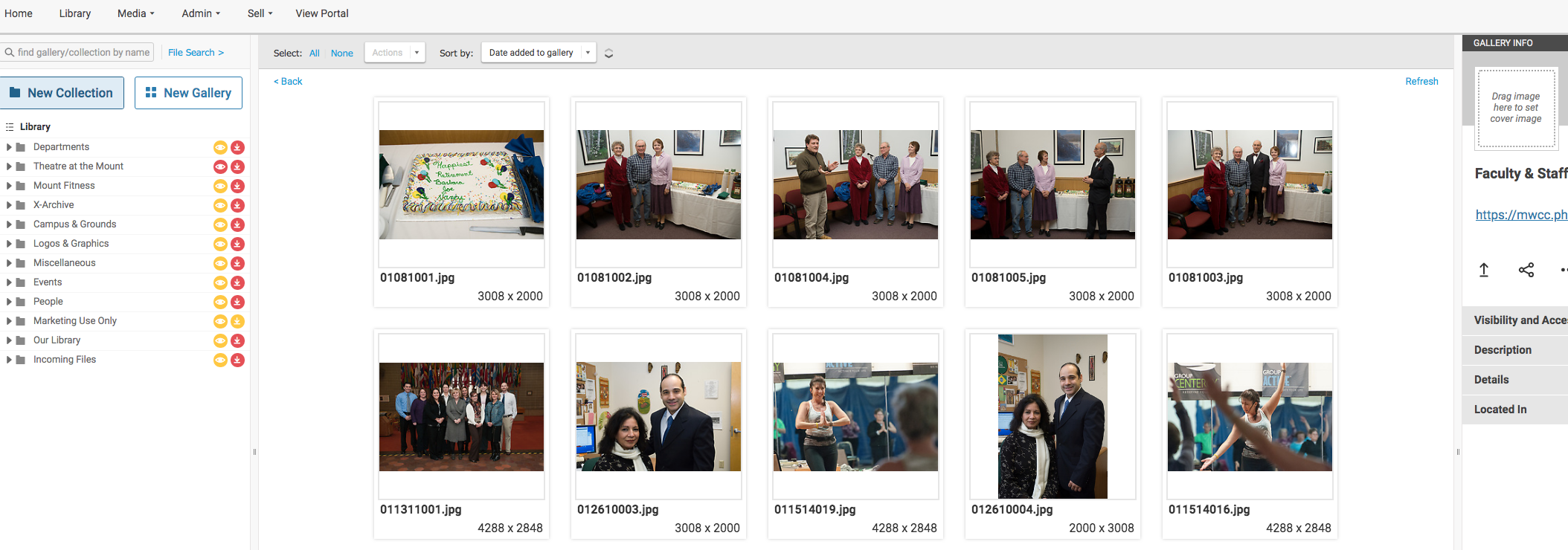 screenshot of photo library