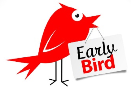 Red bird holding sign that says early bird