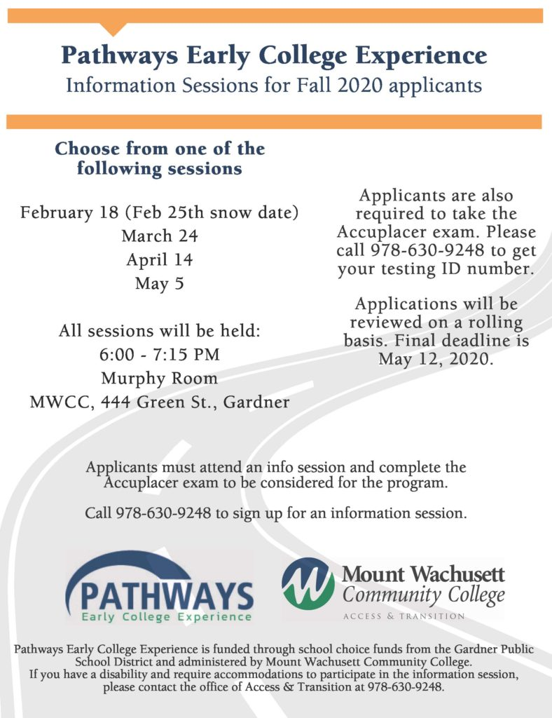 Pathways Early College Experience Information Session Dates for Fall 2020 applicants
