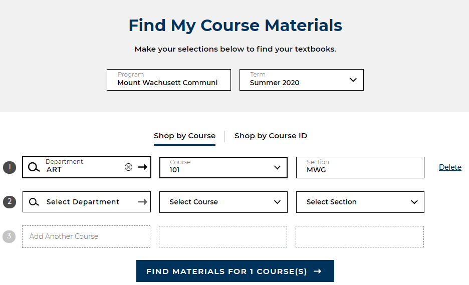 find course materials screen shot