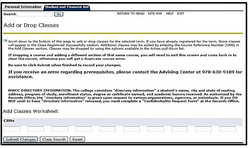 registration bar screen shot