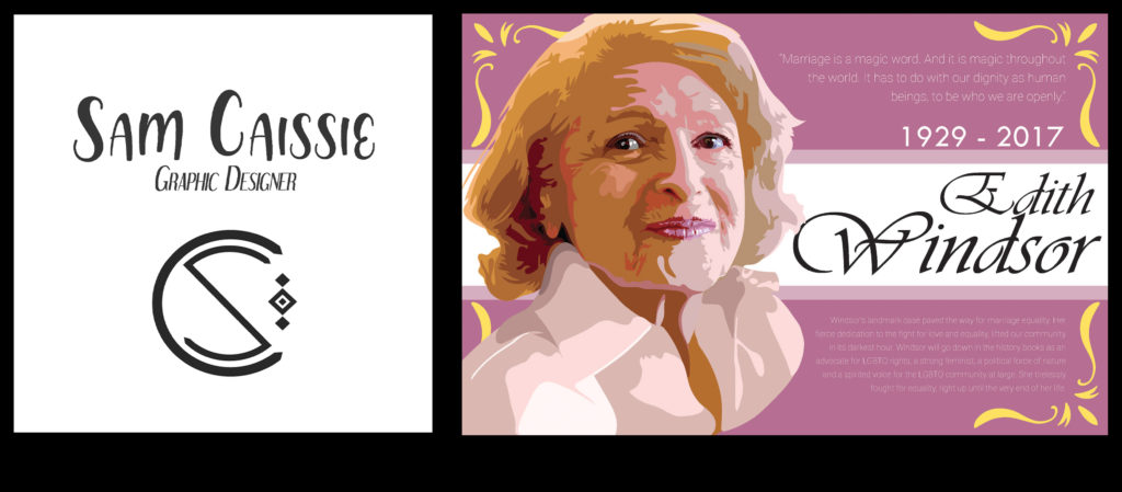 Sammi Caissie Personal Branding and Edith Windsor Portrait Illustration