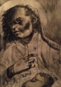 Adoria-Kavuma-Winburn,-Amelda-Hunter,-2020,-watercolor-with-wash-&-charcoal,-24-x-36in