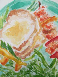 Adoria Kavuma-Winburn, Dinner, 2020, watercolor, 8 x 10in