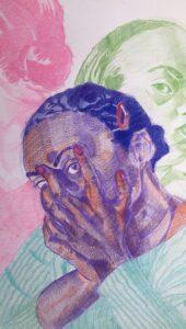 Adoria Kavuma-Winburn, I AGAINST I AGAINST I, 2020, colored pencil, 24 X 30in