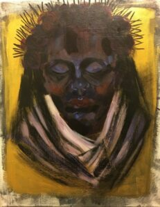 Adoria Kavuma-Winburn, Lady of Sorrows, 2020, acrylic, 24 x 26in