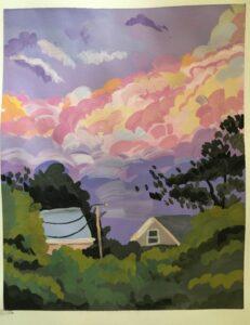 Adoria Kavuma-Winburn, Somewhere in Boston, 2020, gouache, 8 x 10in