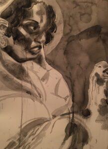 Adoria Kavuma-Winburn, Tonia Carmichael, 2020, watercolor with wash & charcoal 24 x 36in
