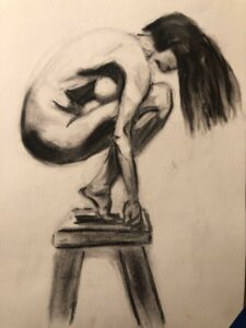 Cheryl-Sanders,-Figure-2,-2020,-charcoal-on-paper,-11x17-in.