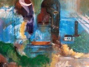 Cheryl Sanders, Hiding in Plain Sight, 2020, acrylic on canvas, 16x20in