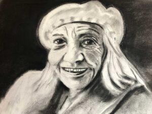 Cheryl-Sanders,-Mom,-2020,-charcoal-on-paper,-11x7-in.