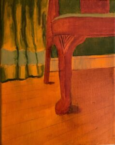 Susan Roetzer, Chair with Drape, 2020, acrylic on canvas, 11x14in
