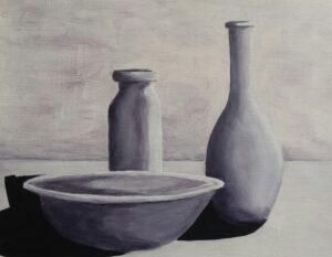 Suzanne Poirier, Bottles and Bowl, 2020, acrylic on canvas, 11X13 in