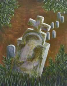 Suzanne-Poirier,-Old-Gravestone,-2020,-acrylic-on-canvas,-11X13in
