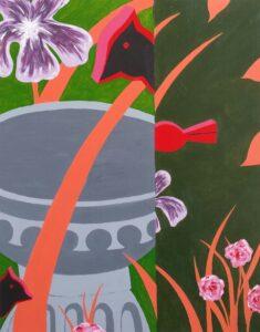 Suzanne Poirier, Wooden Bird, 2020, acrylic on canvas, 16X20in