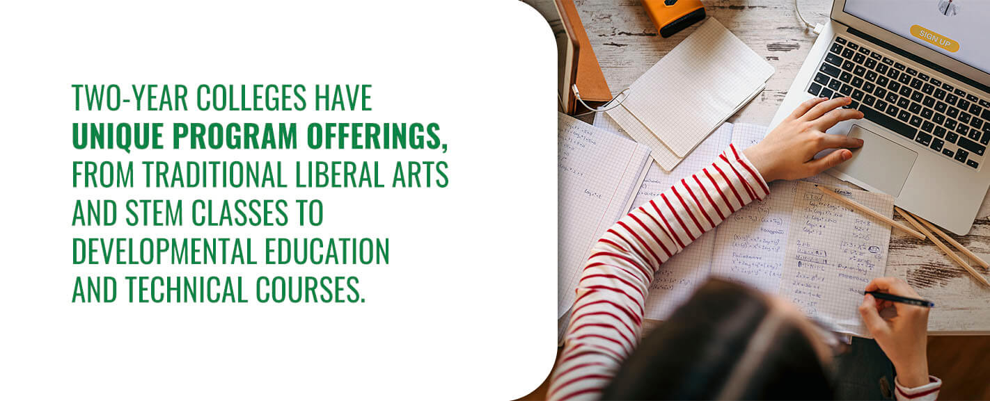 Two-year colleges have unique program offerings, from traditional liberal arts and STEM classes to developmental education and technical courses.