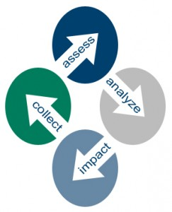 Collect [arrow] assess [arrow] analyze [arrow] impact process icon