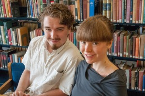 Thomas and Claudia Elbourn in the library