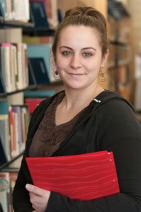 Brittany Brewer in the library