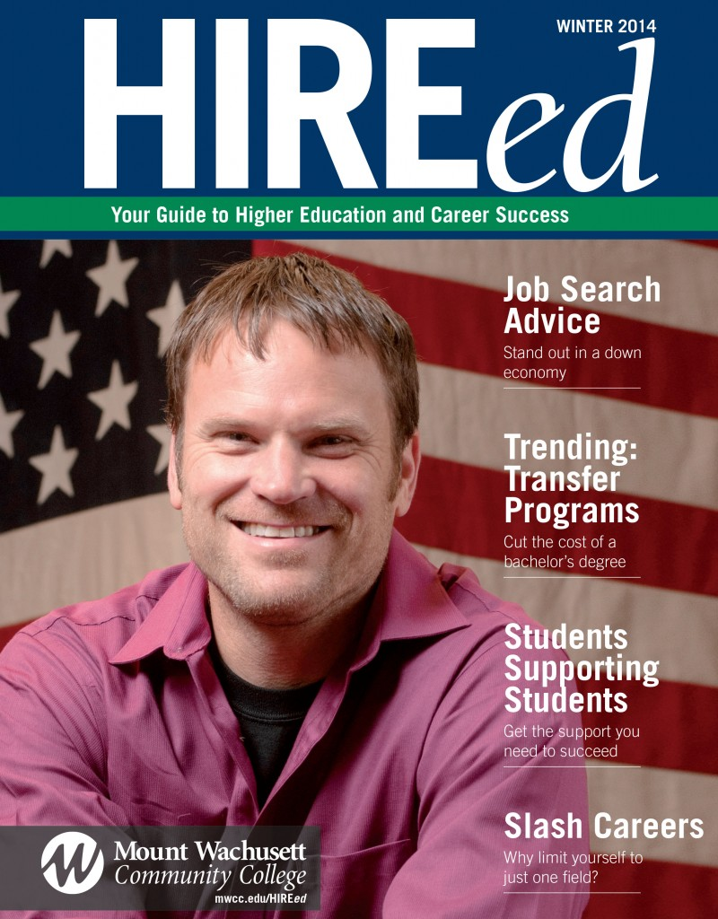 Cover of HIREed magazine - Veteran Student in front of flag