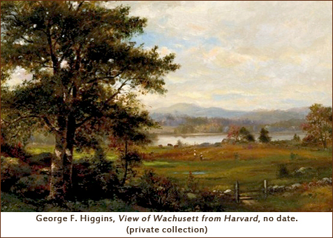 George F. Higgins, View of Wachusett from Harvard, no date. (private collection) [landscape scene of a field, large tree and lake]