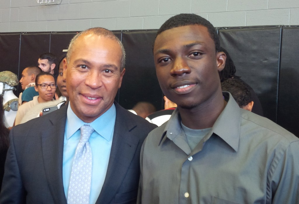 Governor Deval Patrick with MWCC Student Luis Ayisi