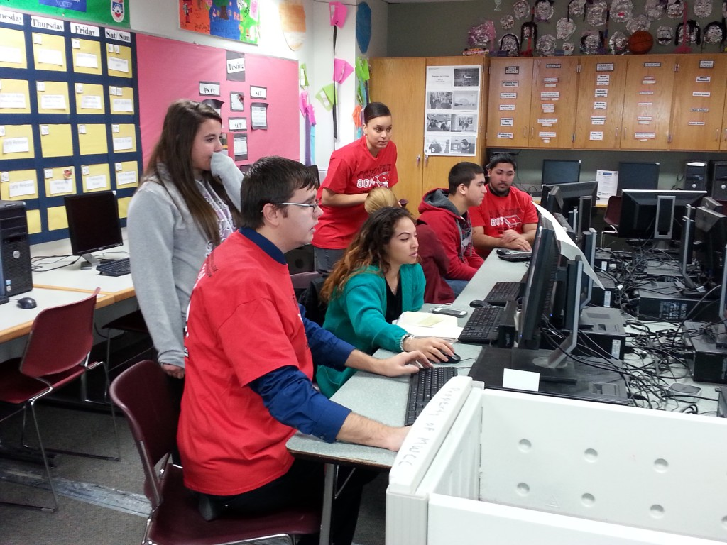 Fitchburg High School students in computer lab working on computers