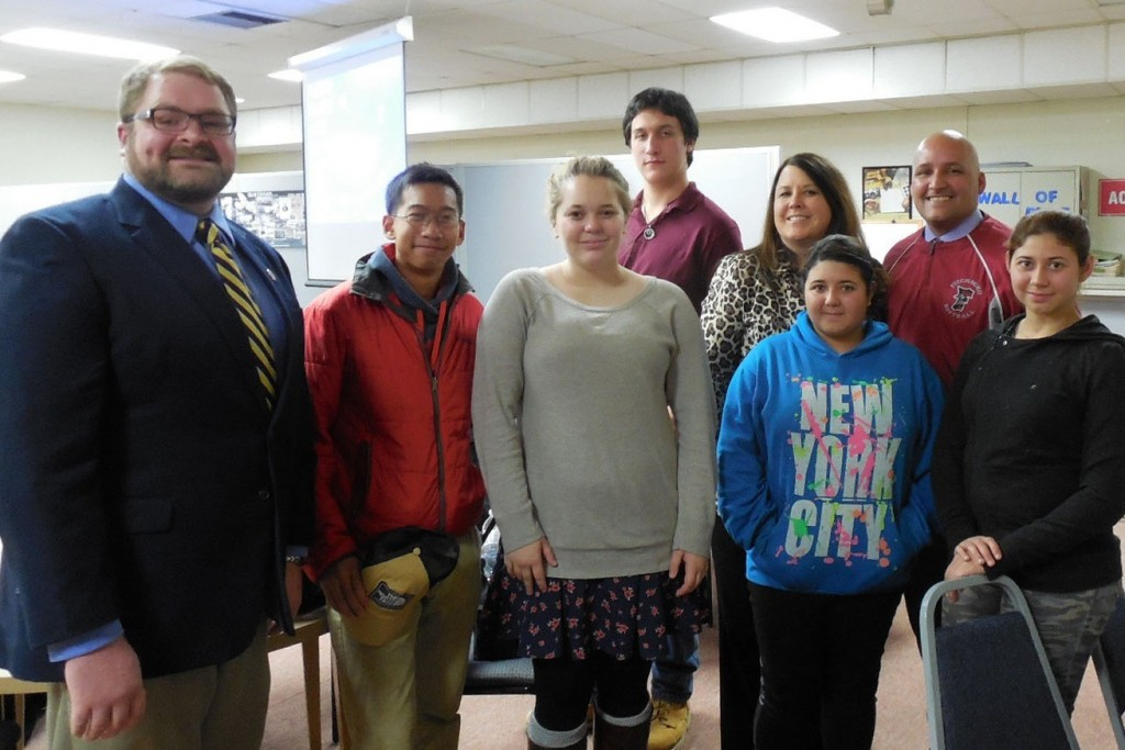Fitchburg's School Committee recognized the MWCC/Fitchburg High School GEAR UP partnership during its Nov. 3 meeting. Front row, left to right, GEAR UP Director Andrew Goodwin, GEAR UP 2016/2017 students Keanu Bouthsarath, Sabrina Hyvarinen, Crystal Ocasio, Stephanie Ocasio; back row, Timothy Harkin, Vice President of External Affairs, Communications and K-12 Partnerships Lea Ann Scales, and GEAR UP Assistant Director Victor Rojas.