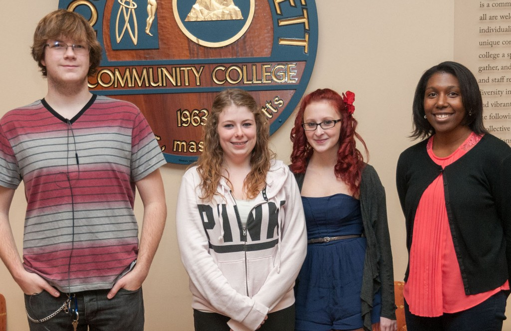 Three Murdock High School seniors are earning MWCC academic certificates through the Robinson-Broadhurst Career Tech Scholarship program. Pictured, from left, Andrew Phelps, Amber Dignan, Melanie Cranfill, andCVTE Transition Counselor and student advisor Shaunti Phillips.