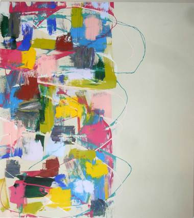 Abstract painting with pinks, blue, greens, yellows, and greys